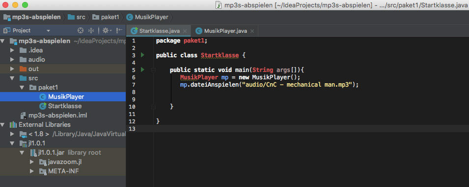 Java mp3 intelliJ